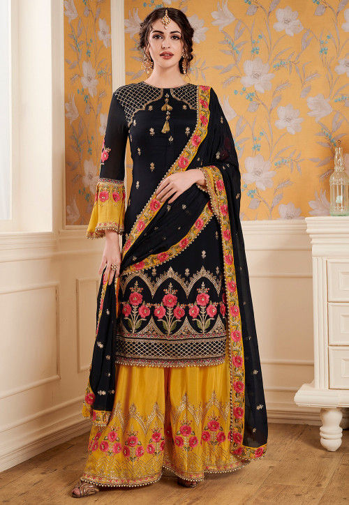 Embroidered Satin Georgette Pakistani Suit in Black