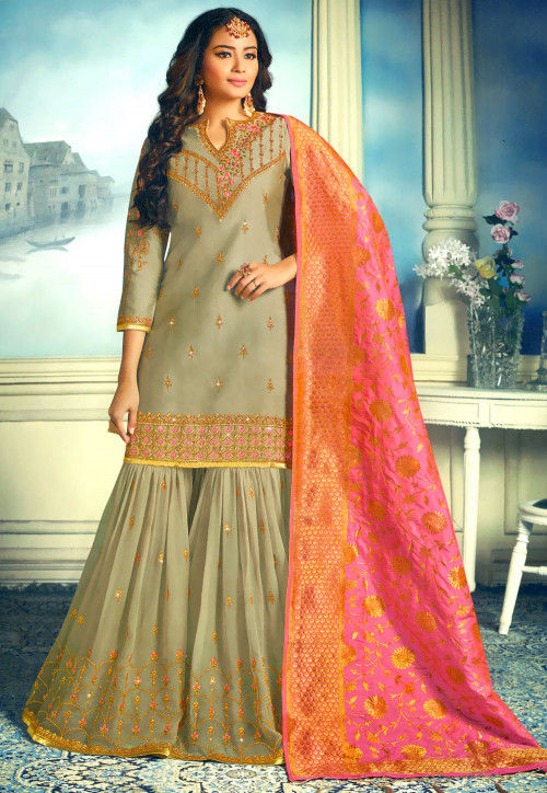 Embroidered Satin Georgette Pakistani Suit in Fawn