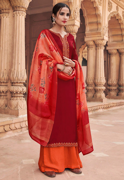 Embroidered Satin Georgette Pakistani Suit in Red