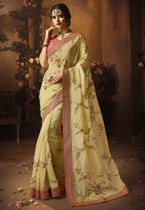 Embroidered Satin Georgette Saree in Light Yellow
