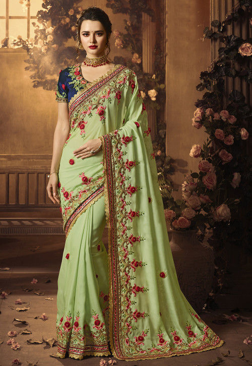 Embroidered Satin Georgette Saree in Pastel Green