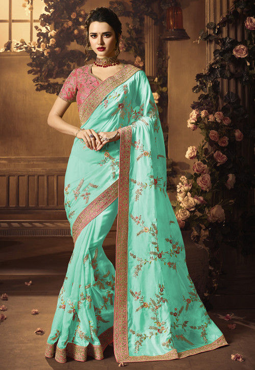 Embroidered Satin Georgette Saree in Turquoise