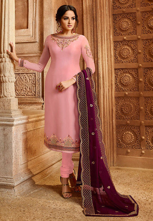 Embroidered Satin Georgette Straight Suit in Baby Pink