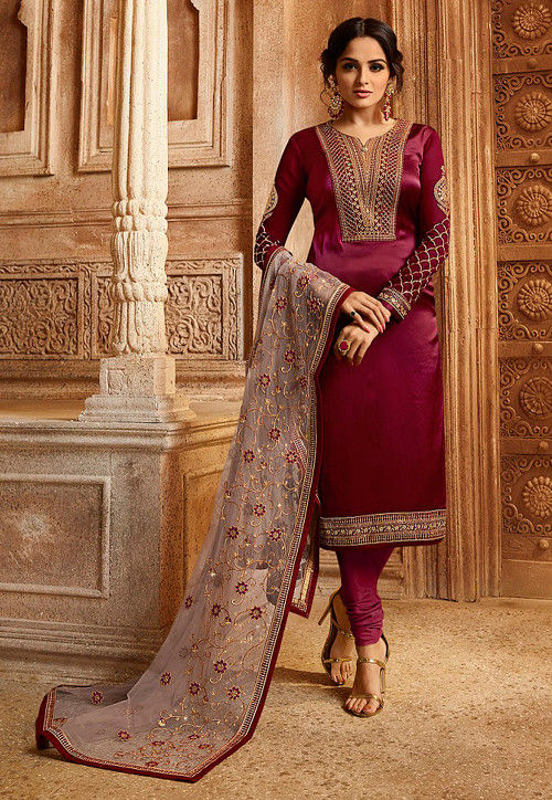Embroidered Satin Georgette Straight Suit in Maroon