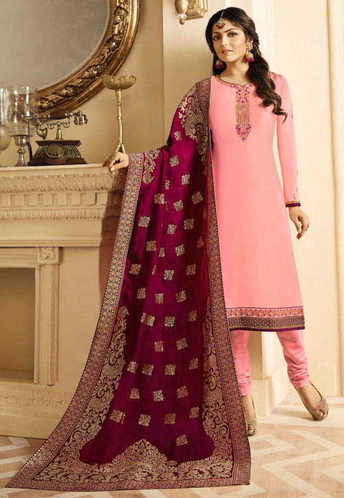 Embroidered Satin Georgette Straight Suit in Pink