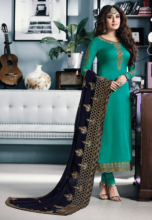 Embroidered Satin Georgette Straight Suit in Teal Green
