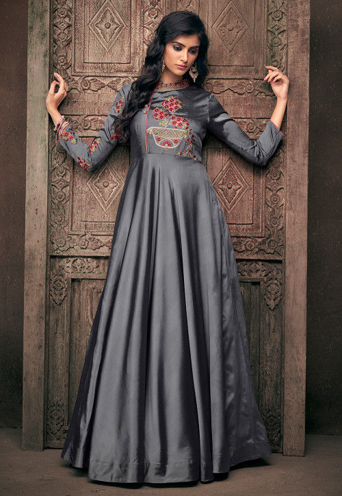 Embroidered Satin Gown in Grey