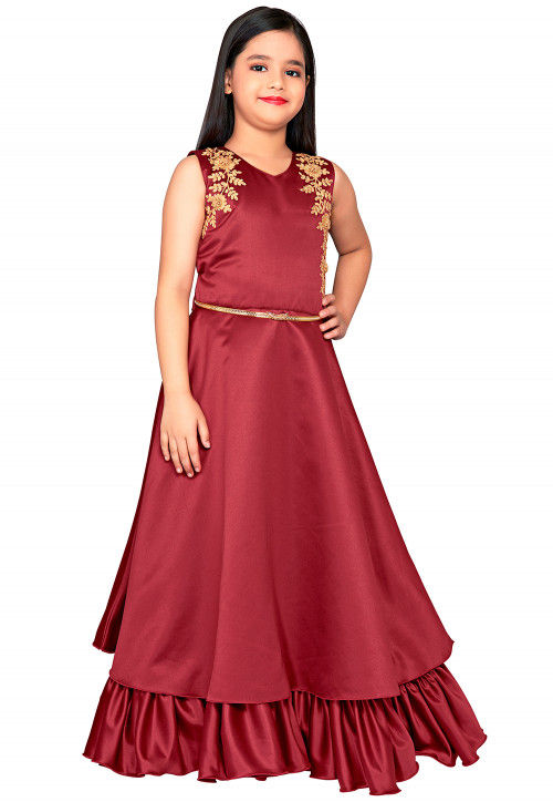 Embroidered Satin Gown in Maroon