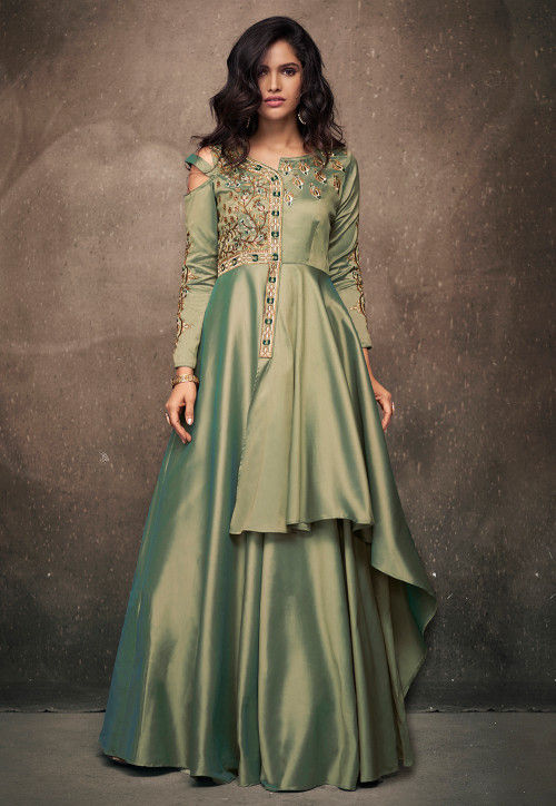 Embroidered Satin Gown in Pastel Green