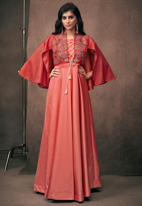 Embroidered Satin Gown in Peach