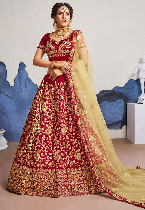 ba87d972d5 Embroidered Satin Lehenga in Maroon : LZR550