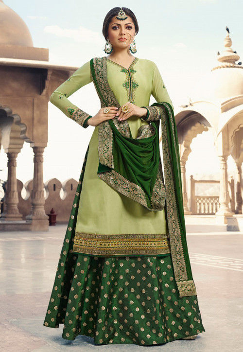 Embroidered Satin Lehenga in Olive Green