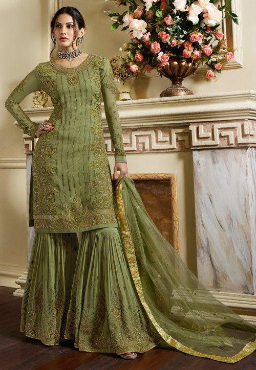 Embroidered Satin Pakistani Suit in Pastel Green