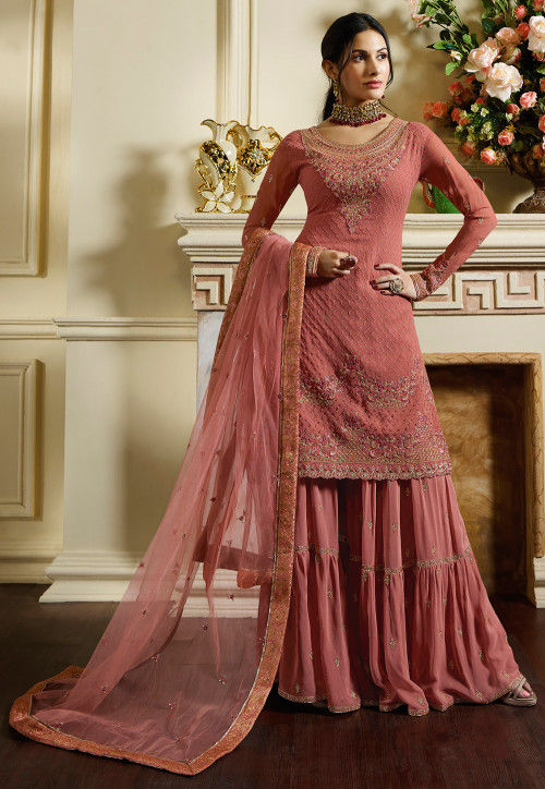 Embroidered Satin Pakistani Suit in Pink