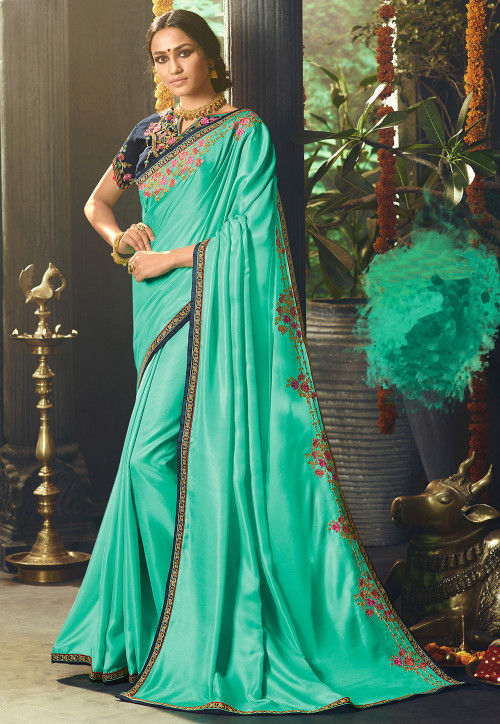 Embroidered Satin Saree in Turquoise