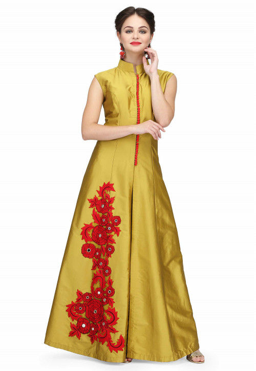 Embroidered Taffeta Silk Kurta Set in Golden