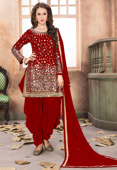 e9d6a9ef319 Embroidered Taffeta Silk Punjabi Suit in Red   KCH1165