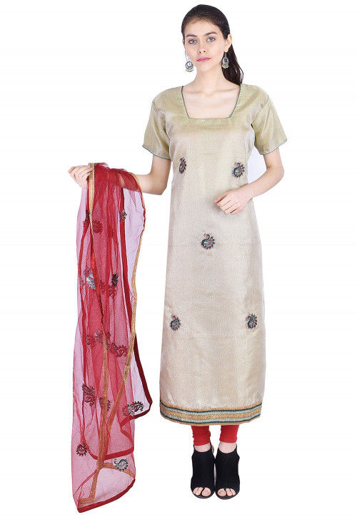 Embroidered Tissue Straight Suit in Light Olive Green