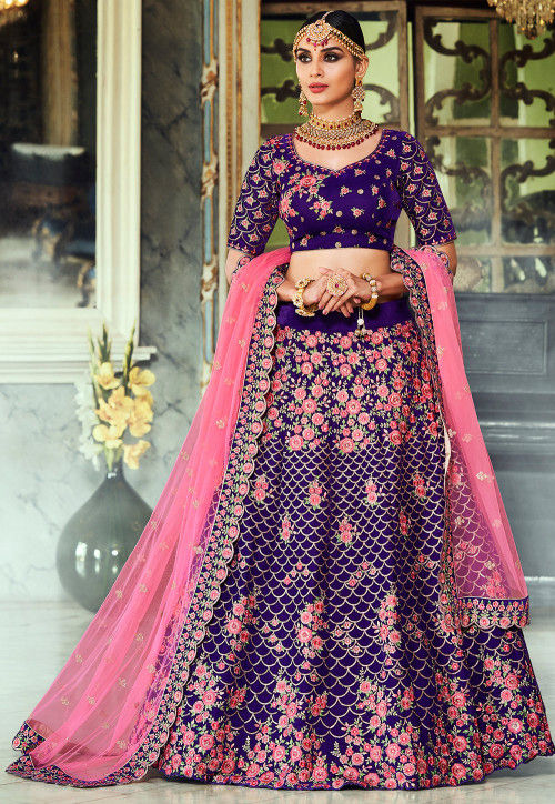 Embroidered Velvet Lehenga in Indigo Blue