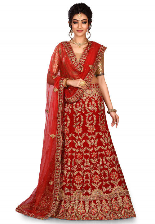 Embroidered Velvet Lehenga in Red