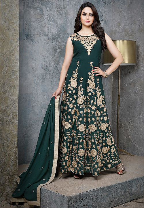 Embroidered Viscose Georgette Abaya Style Suit in Dark Green