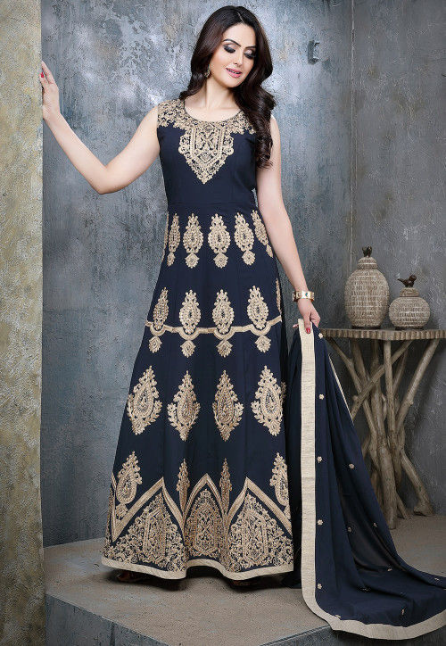 Embroidered Viscose Georgette Abaya Style Suit in Navy Blue