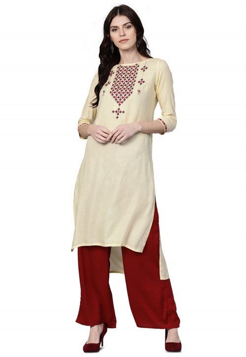 Embroidered Viscose Rayon High Low Kurta with Palazzo in Cream