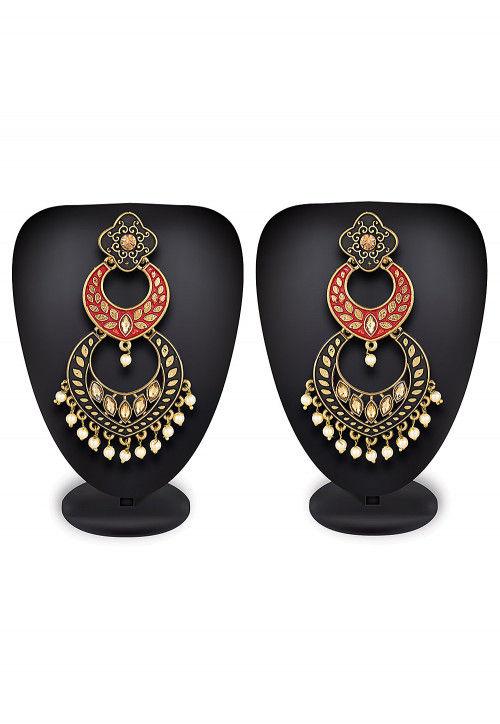 Enamel Filled Stone Studded Earring