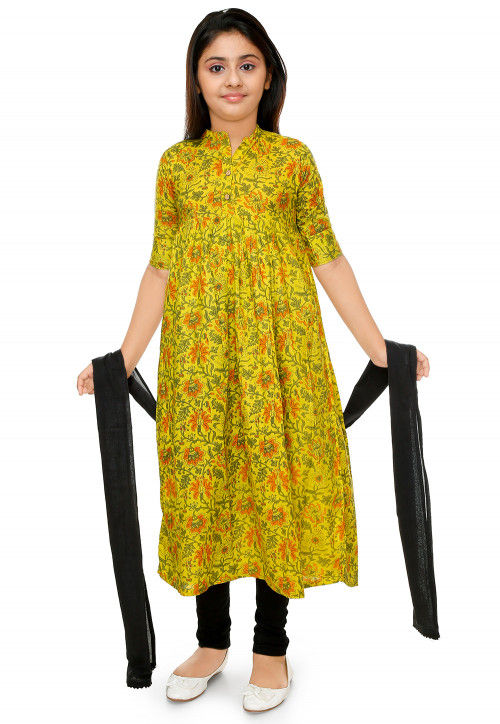 Floral Printed Cotton Rayon Anarkali Suit in Light Olive Green