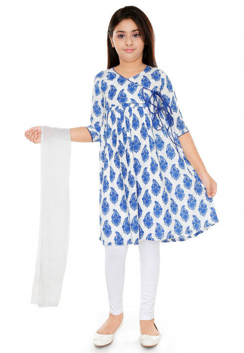 Floral Printed Rayon Cotton Angrakha Style Suit in White and Blue
