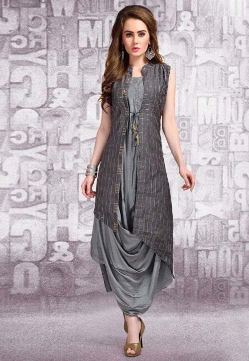 Foil Printed Art Silk Cowl Jacket Style Dress in Grey