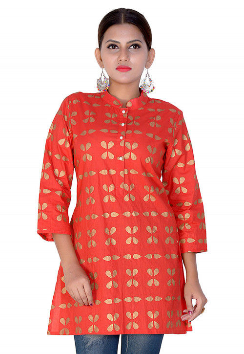 Foil Printed Cotton Short Kurti in Red