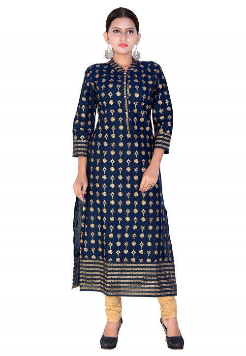 Foil Printed Cotton Straight Kurta in Navy Blue