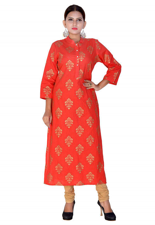 Foil Printed Cotton Straight Kurta in Red