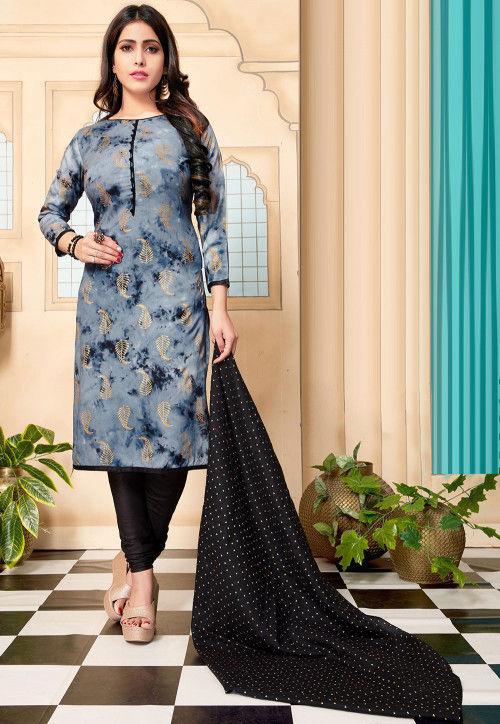 Foil Printed Cotton Straight Suit in Blue
