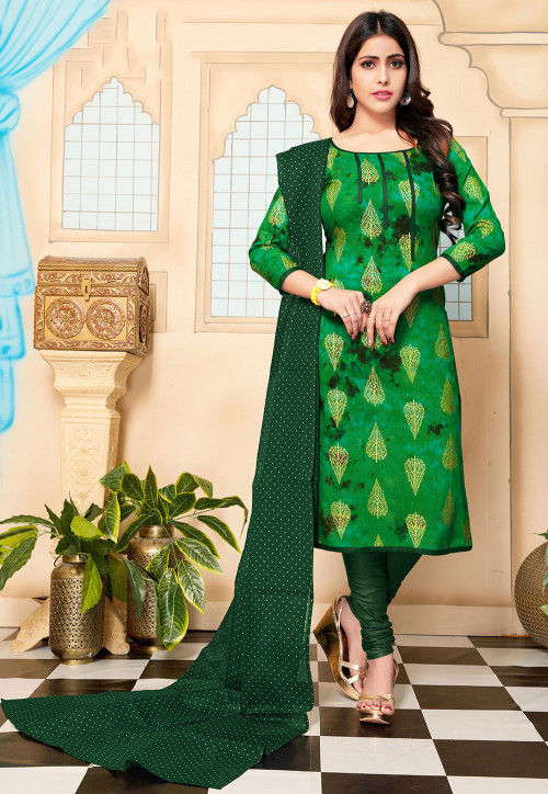 Foil Printed Cotton Straight Suit in Green