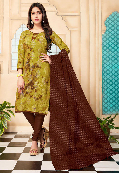 Foil Printed Cotton Straight Suit in Light Olive Green