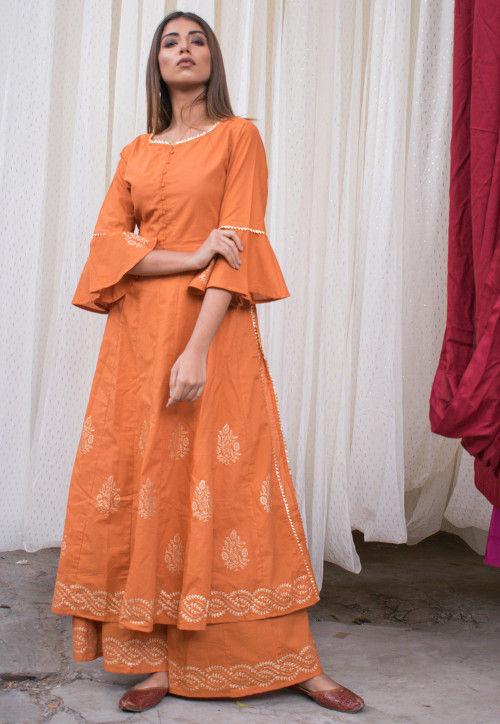 Golden Printed Cotton Anarkali Kurta with Palazzo in Orange
