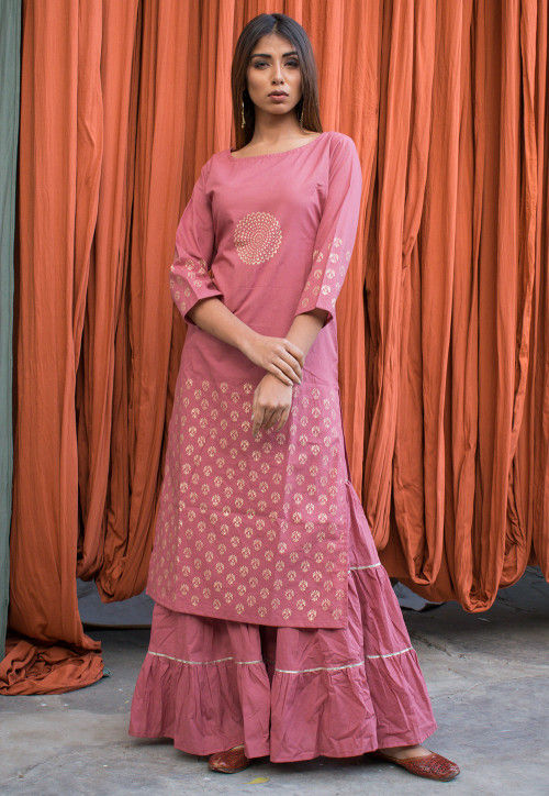 Golden Printed Cotton Straight Kurta with Palazzo in Pink