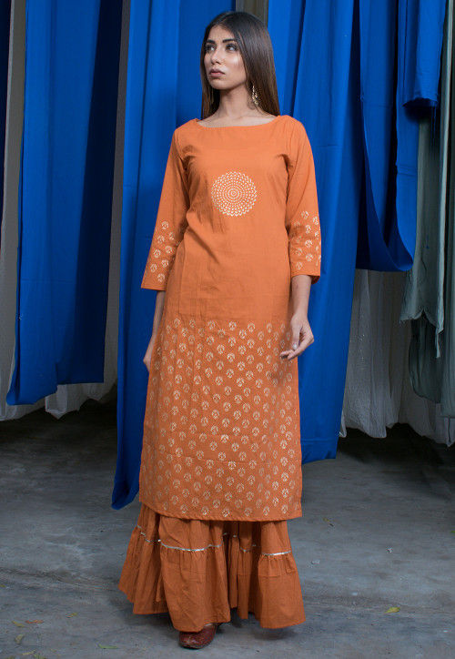Golden Printed Cotton Straight Kurta with Palazzo in Rust