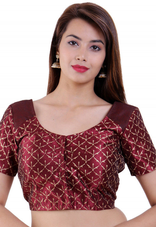 Golden Printed Dupion Silk Padded Blouse in Maroon