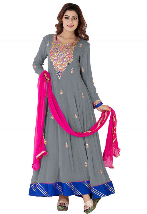 Gota Patti Georgette Abaya Style Suit in Grey