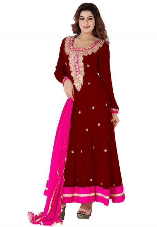 Gota Patti Georgette Abaya Style Suit in Maroon