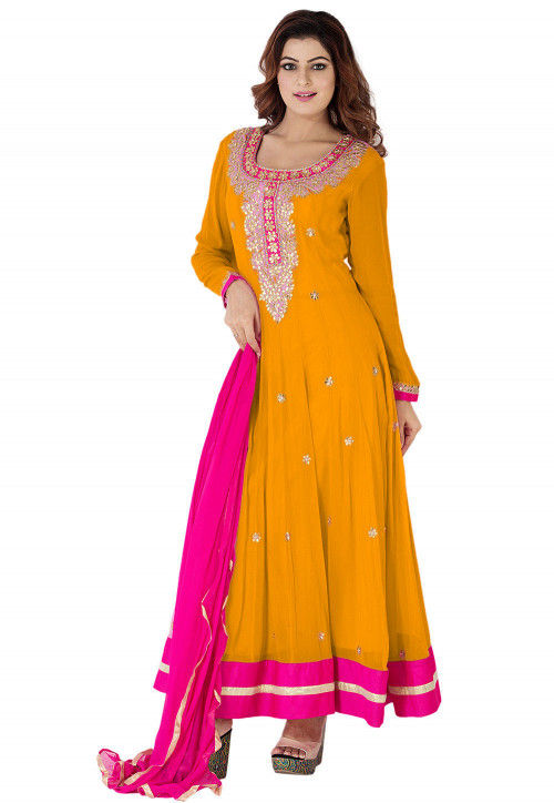 Gota Patti Georgette Abaya Style Suit in Mustard