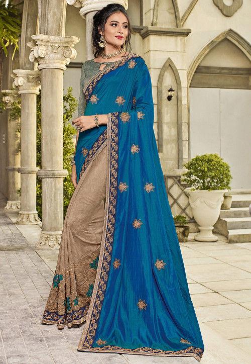 Half N Half Art Silk Saree in Blue and Beige