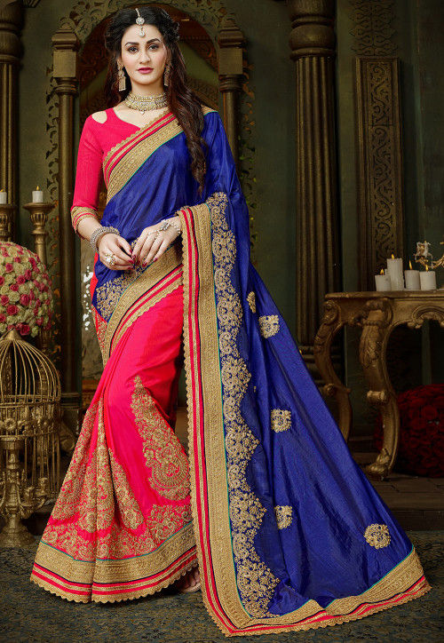 Half N Half Art Silk Saree in Blue and Fuchsia
