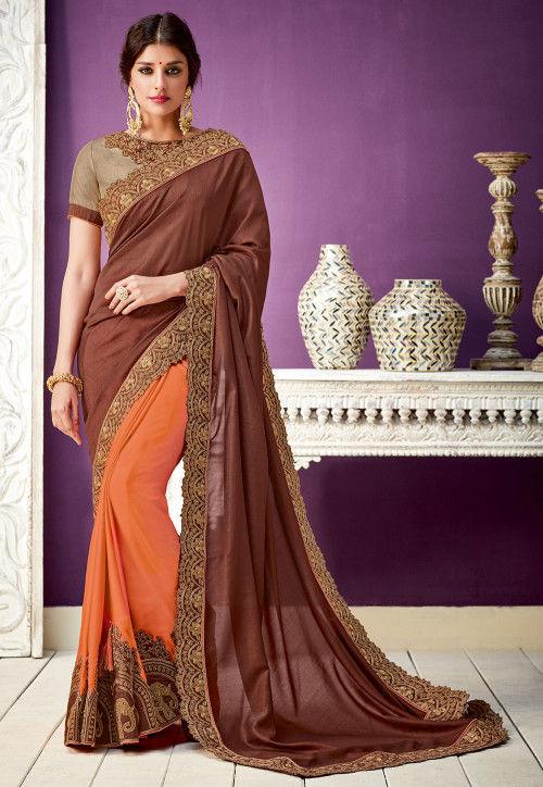 Half N Half Art Silk Saree in Brown and Orange