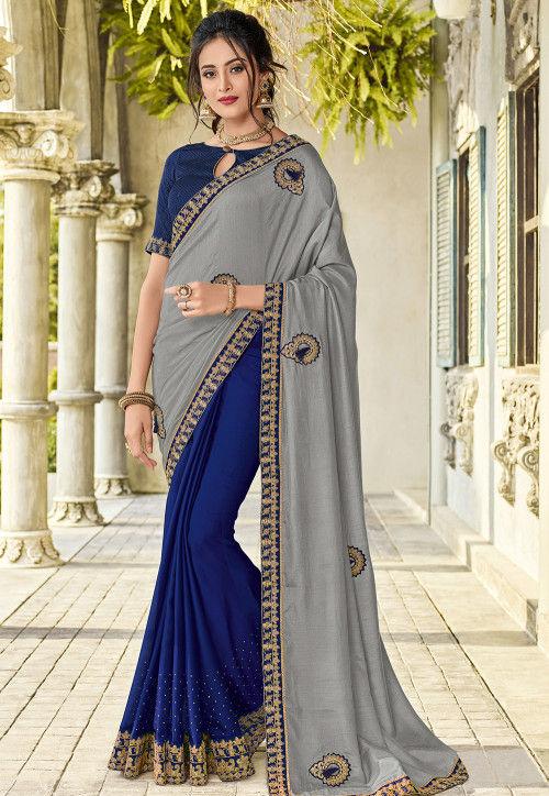 Half N Half Art Silk Saree in Grey and Navy Blue