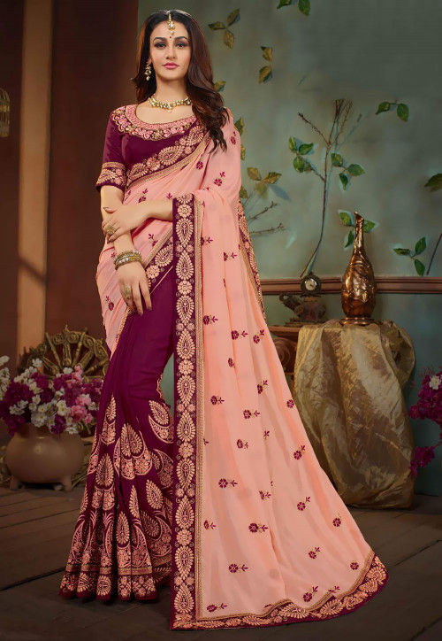 Half N Half Art Silk Saree in Light Peach and Wine