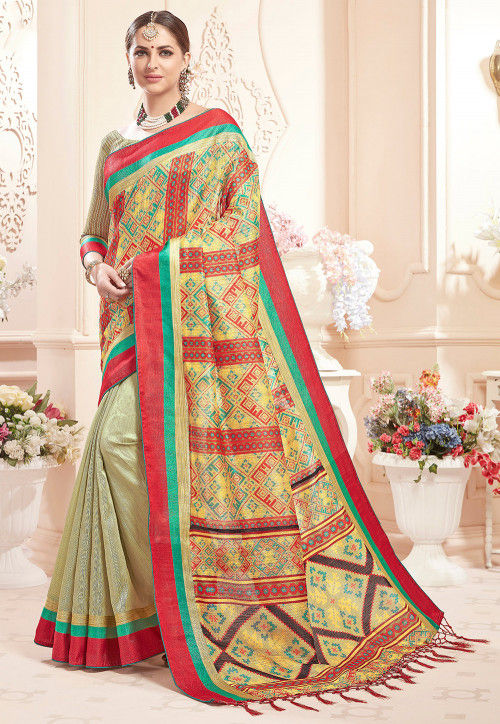 Half N Half Art Silk Saree in Multicolor and Pastel Green